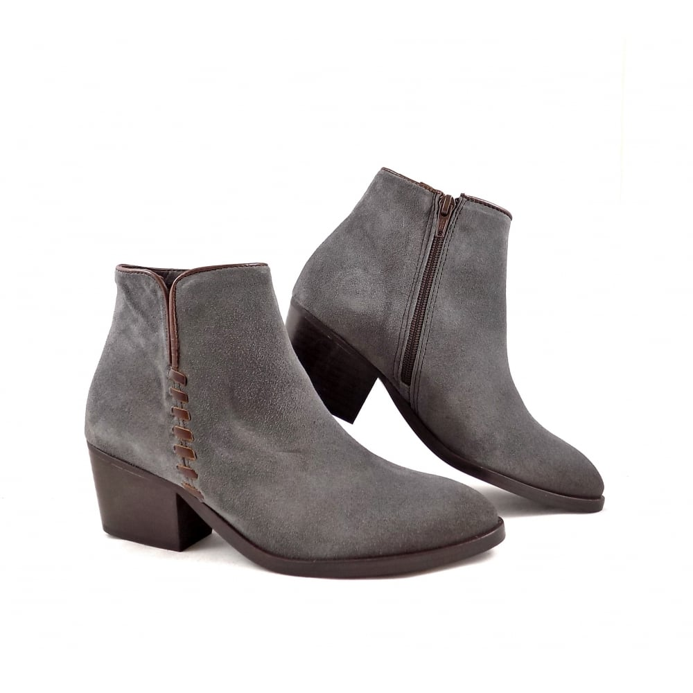 0c90591cbf4a5 Alpe 3052 Western Style Mid Heel Ankle Boots in Grey | rubyshoesday