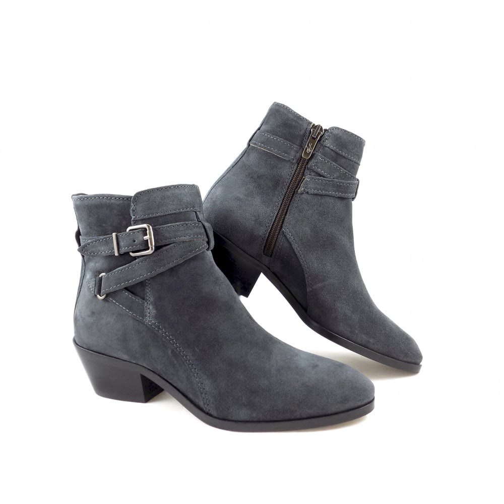 Alpe 3091 Low Heel Ankle Boots In Grey Suede Rubyshoesday