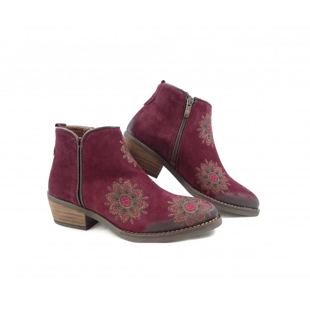 Alpe 3459 Western Ankle Boots With Embroidery Bordeaux Rubyshoesday Embroidered Detail Style Boot