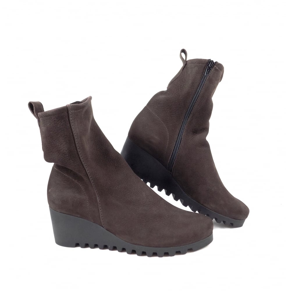 9afa4d64800 Arche Larazo Mid Wedge Ankle Boots in Dark Brown