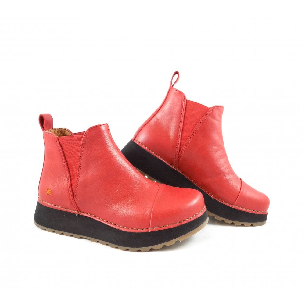 Art Company Heathrow 1023 Flatform Ankle Boots In Red