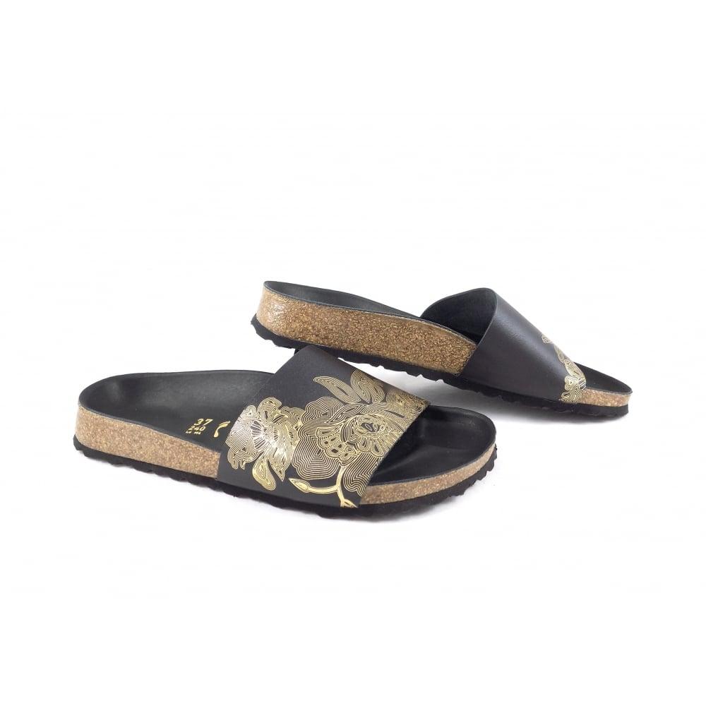 9c331959477c Birkenstock Cora Single Strap Sandals in Black and Gold