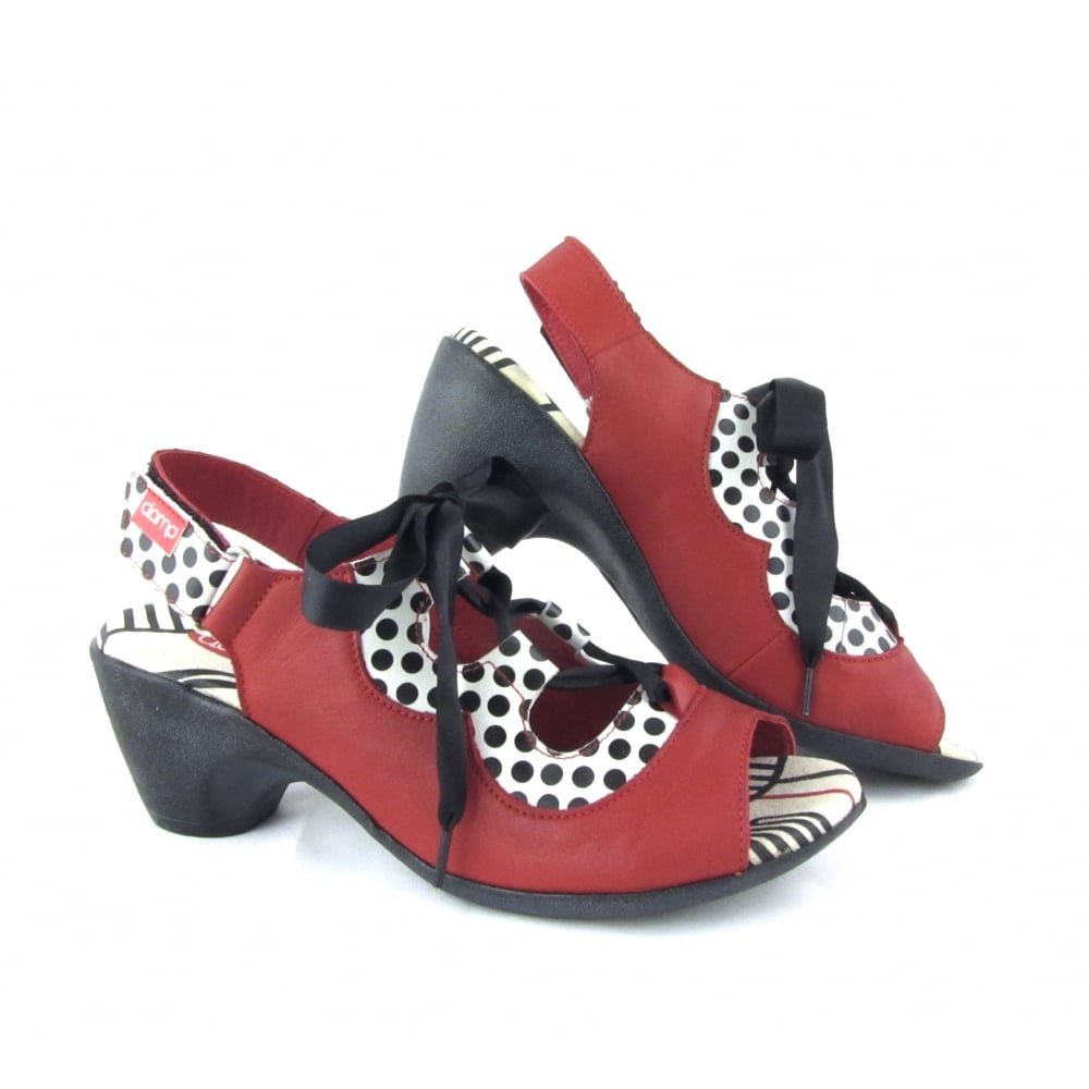 Clamp Clamp Adan Mid Heel Sandal with Ribbon Laces