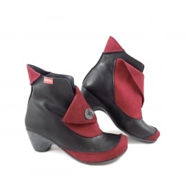Clamp Dana Mid Heel Ankle Boot with Button Detail