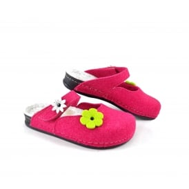 Dr Feet 2178 Mary Jane Style Felt Slippers with Flowers