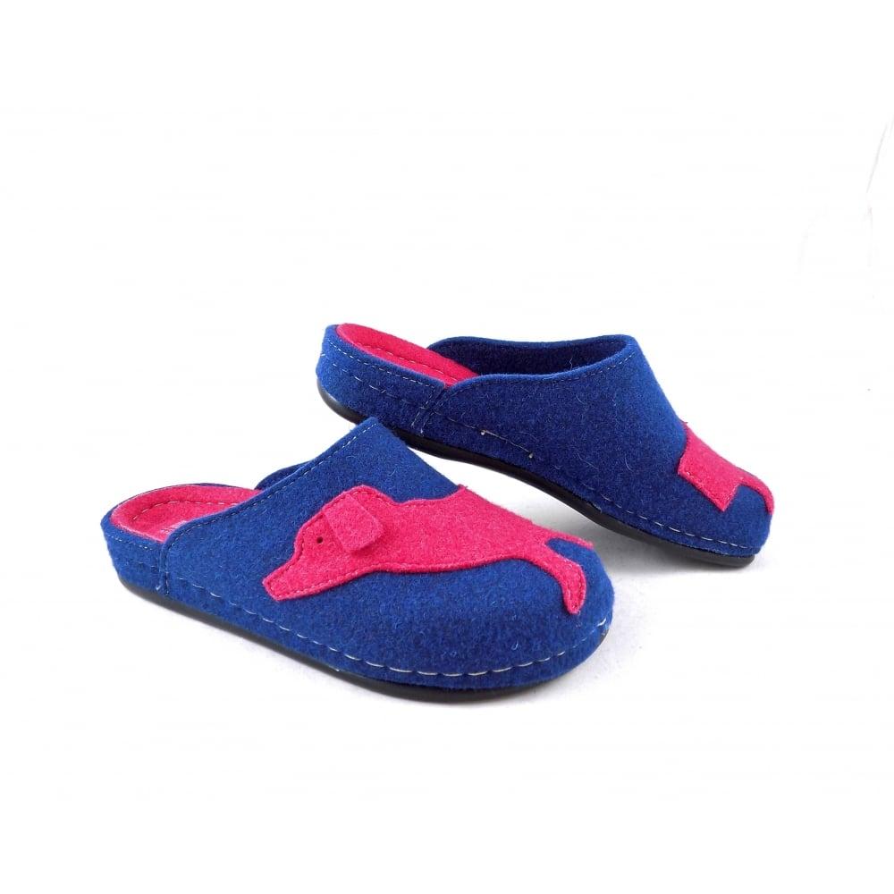b1ec317ef796d8 Dr Feet 2250 Felt Slippers with Dog Motif in Blue Pink