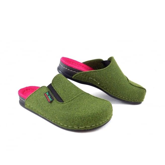 Dr Feet 2329 T 937 323 Felt Slippers In Moss Green