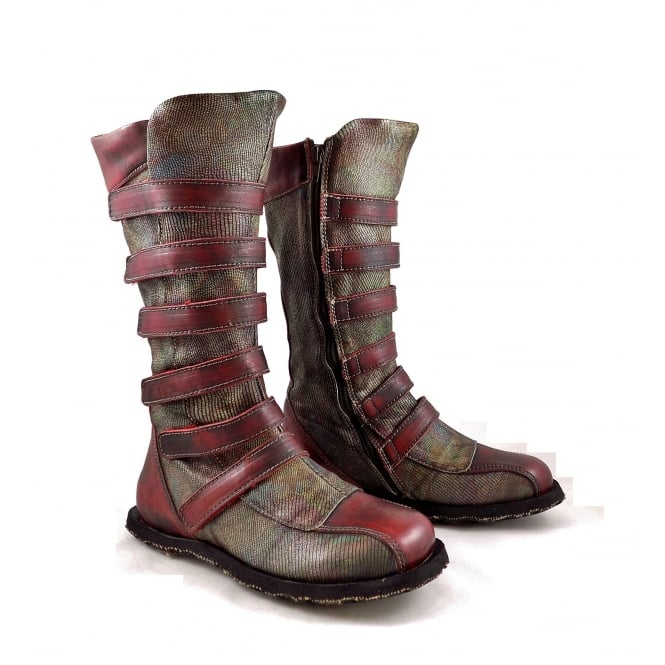 Eject Street Mid Calf Boots With Straps In Red Leather