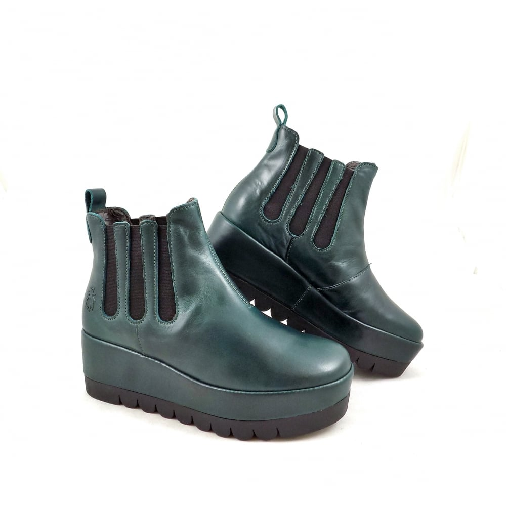 fly bail chunky ankle boots in petrol leather