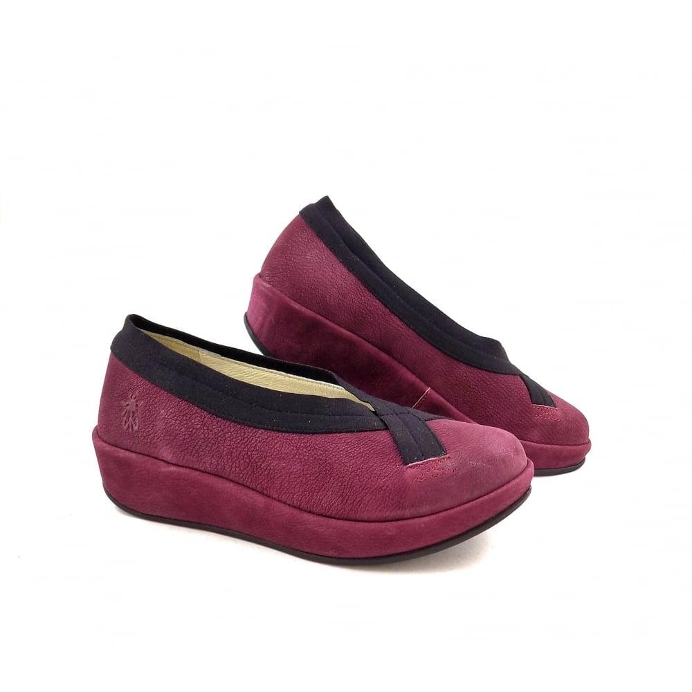 Fly London Bobi Slip On Flatform Shoes in Magenta | rubyshoesday