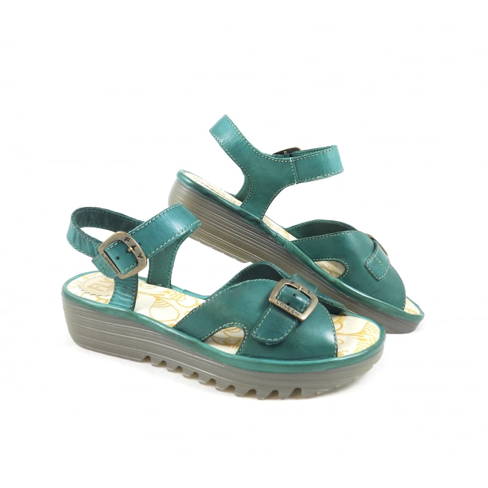 56ac21495e5f6 Fly London Egal Two Part Sandals in Verdigris Leather | rubyshoesday
