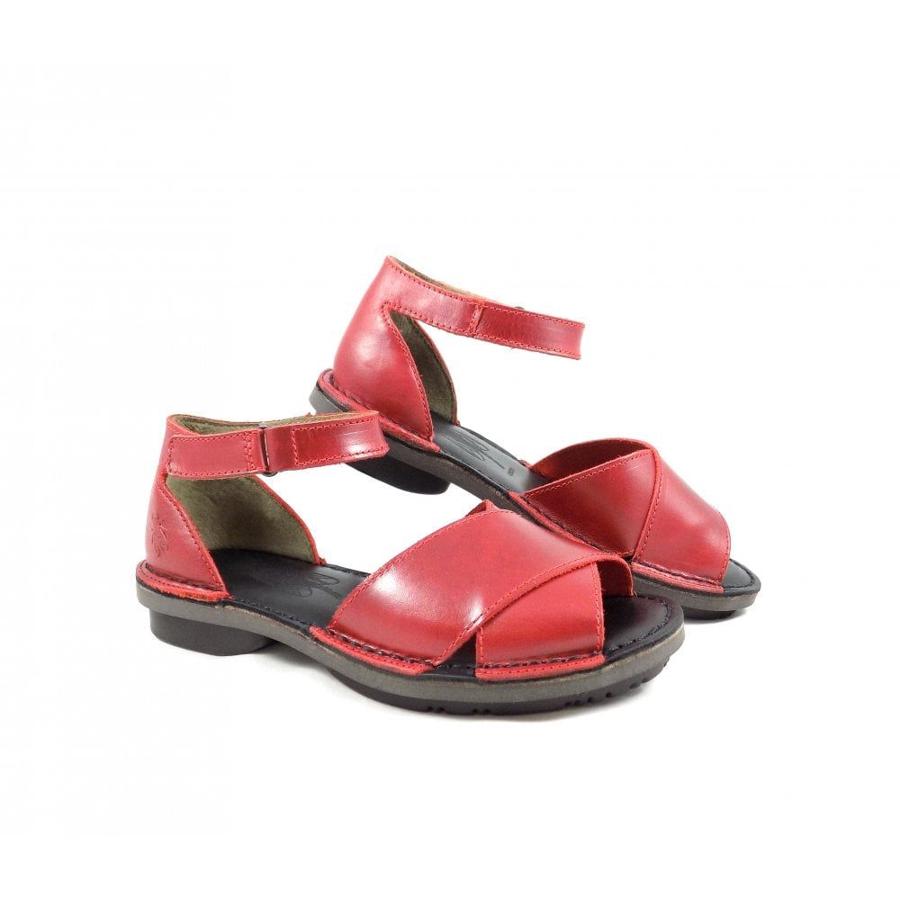 5cc7efdcefd Fly London Fiol Two Part Chunky Sandals in Red Leather