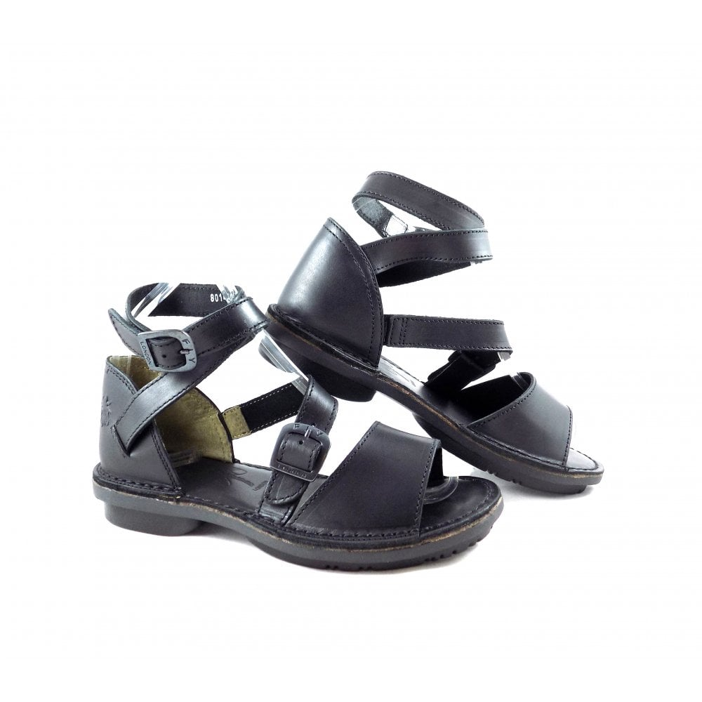 d1800f058b898 Fly London Foxy Wrap Around Strap Sandals in Black | rubyshoesday