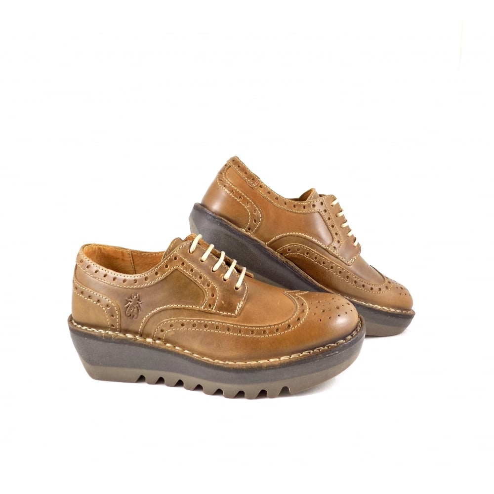 Fly London Jane Super Chunky Lace Up Shoes in Camel  09969695cd