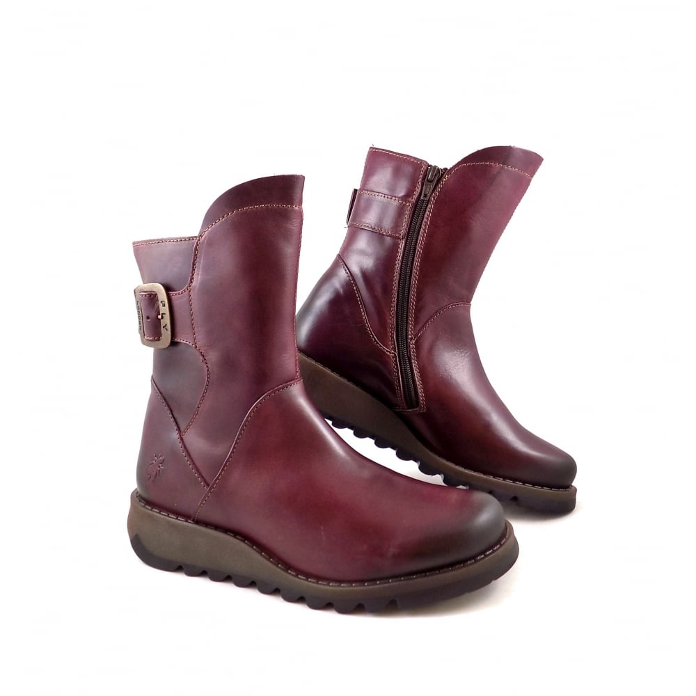 Fly London Sien High Ankle Boots In Purple Leather