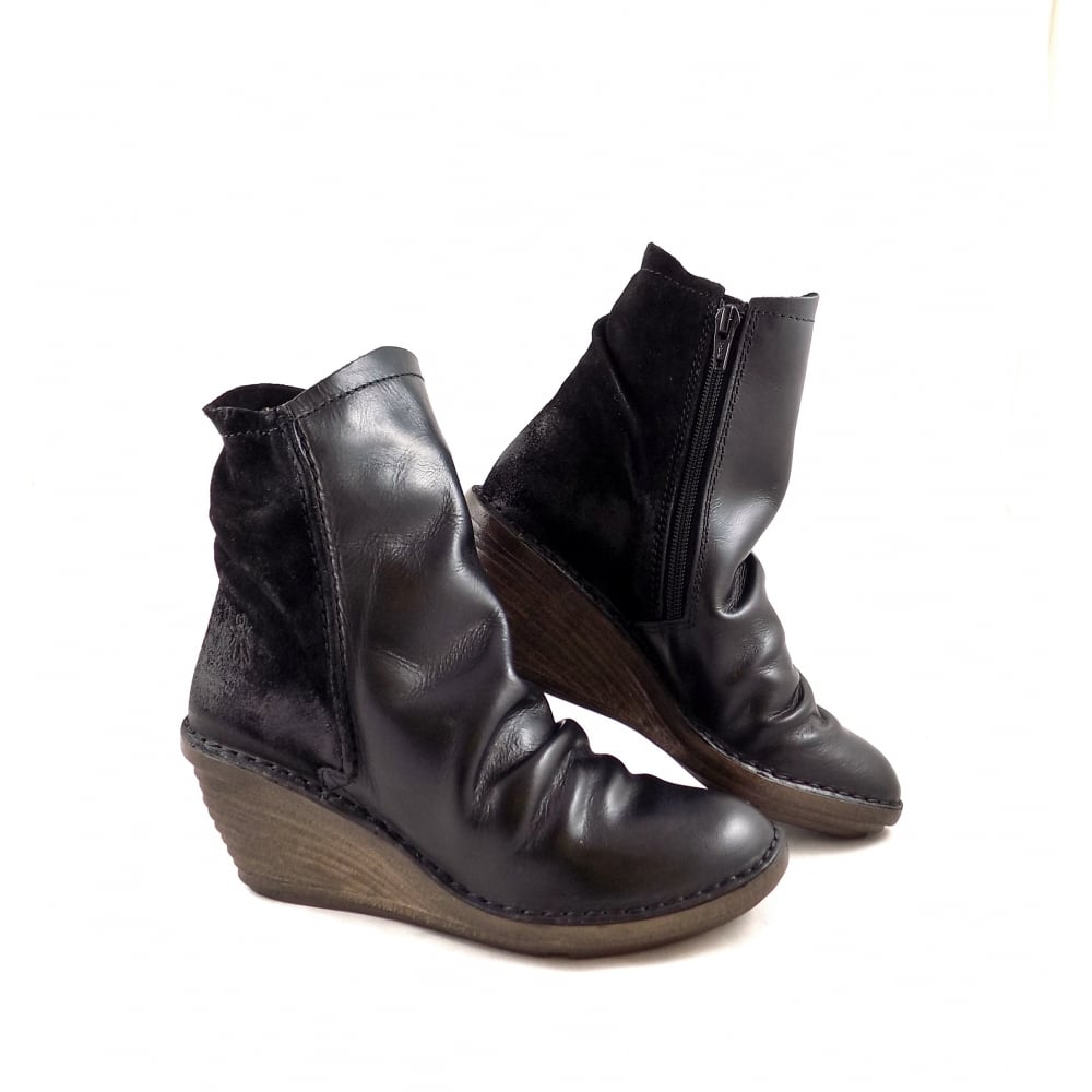 fly slou mid wedge ankle boots in black rubyshoesday
