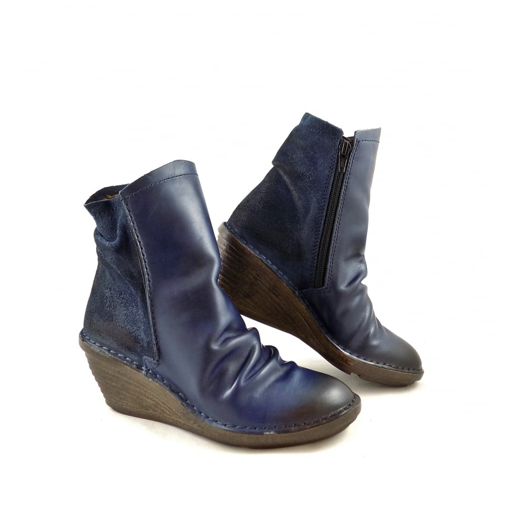Fly London Slou Mid Wedge Ankle Boots In Blue Ocean