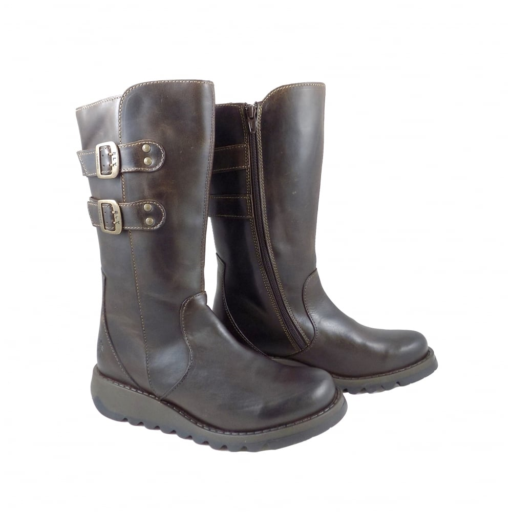 7b2a98f3a999e Fly London Suli Mid Calf Boots with Buckles in Brown