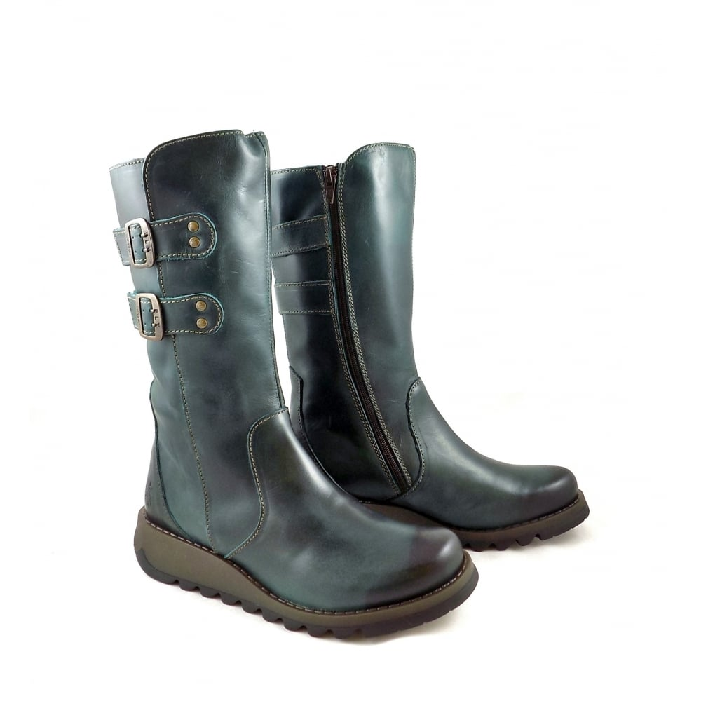e73abb6da28ca Fly London Suli Mid Calf Boots with Low Wedge in Petrol