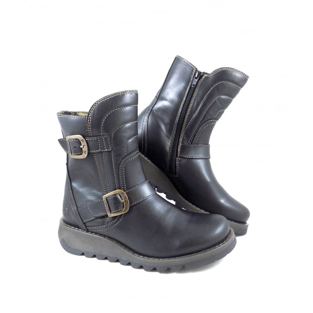 66d7a1e0 Fly London Sven Chunky Biker Style Ankle Boots in Black | rubyshoesday