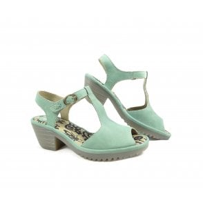 50a379923c8 Fly London Yone Ankle Wrap Wedge Sandals in Mint Suede
