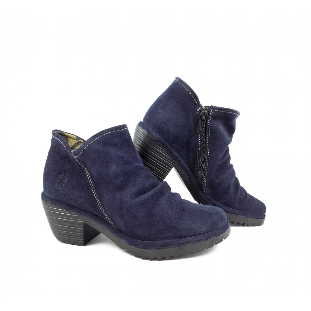 713c1dba229 Fly London Wezo Low Heel Ankle Boots in Navy Suede | rubyshoesday