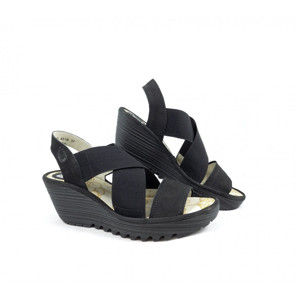 a93e84ced4a8f Fly London Yaji Cross Strap Wedge Sandals in Black | rubyshoesday