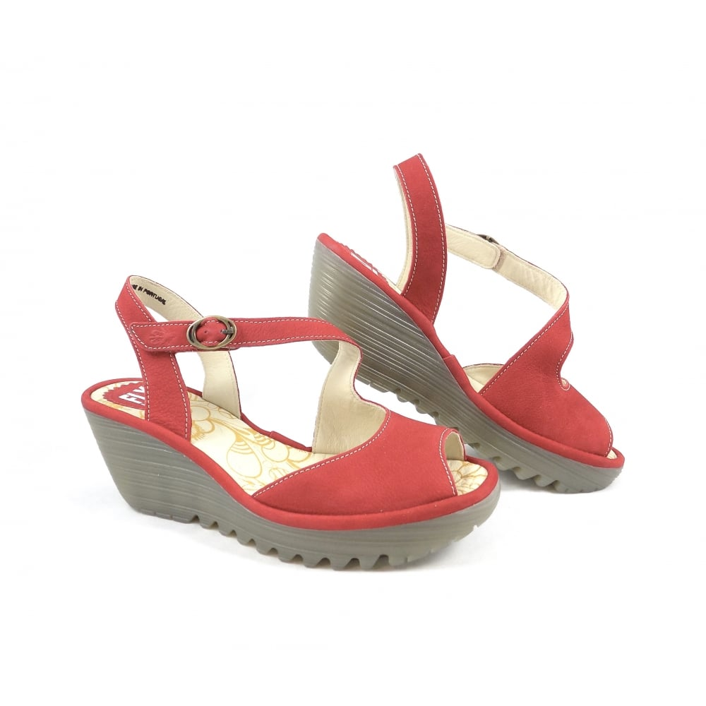 4ef2790b3dd19 Fly London Yamp Wedge Sandals in Lipstick Red | rubyshoesday