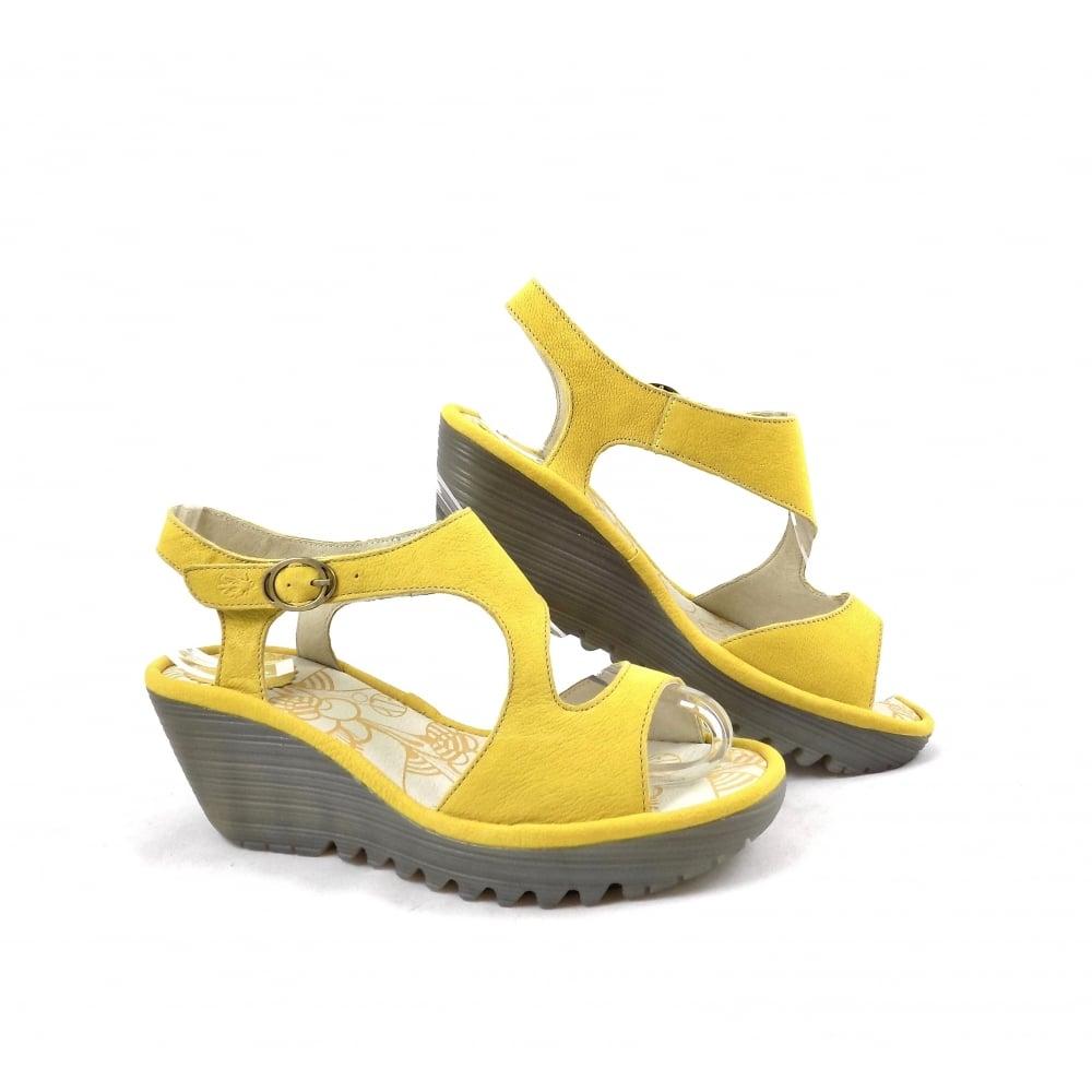 Fly London Yanca Wedge Sandals in Lemon