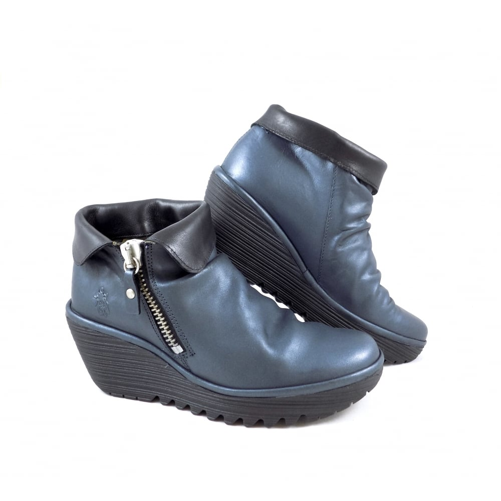 a6bee9d432d Fly London Yoxi Wedge Ankle Boots with Fold Over Cuff