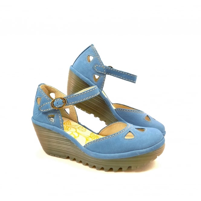 Fly London Yuna Closed Toe Wedge Sandals In Smurf Blue