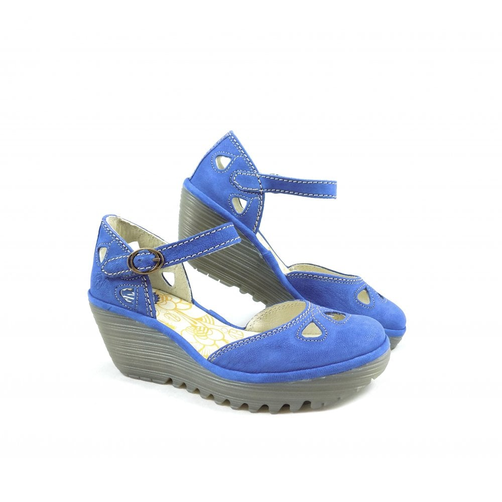 293355043c0dd Fly London Yuna Closed Toe Wedge Sandals in Royal Blue   rubyshoesday