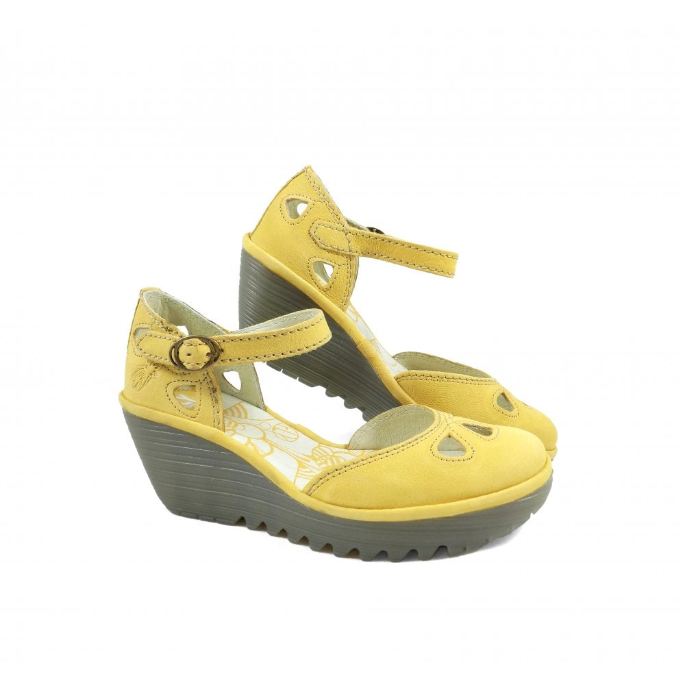 db561f0b378 Fly London Yuna Closed Toe Wedge Sandals in Bumblebee