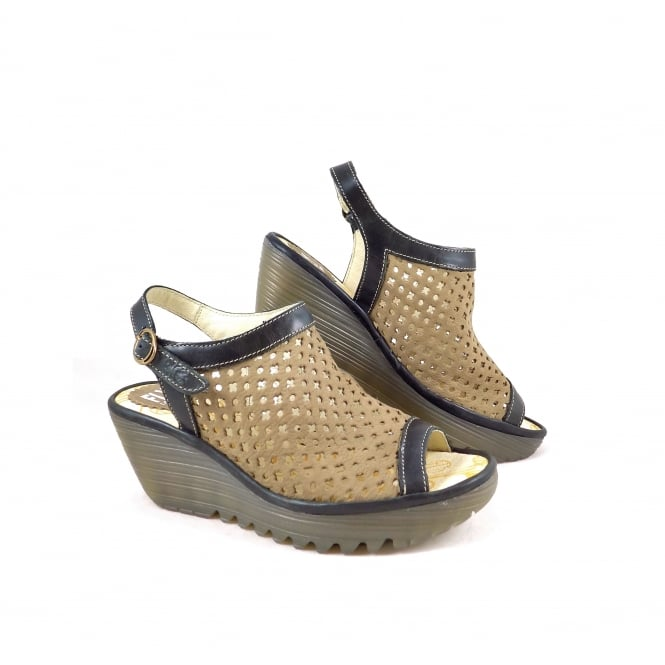 Fly London Yuti Wedge Sandal with Slingback