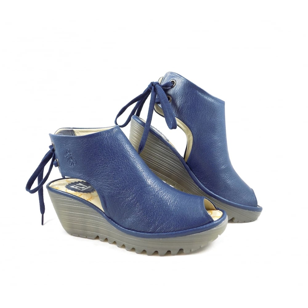 23cd198485 Fly London Yuzu Ankle Tie Wedge Sandals in Blue Leather | rubyshoesday