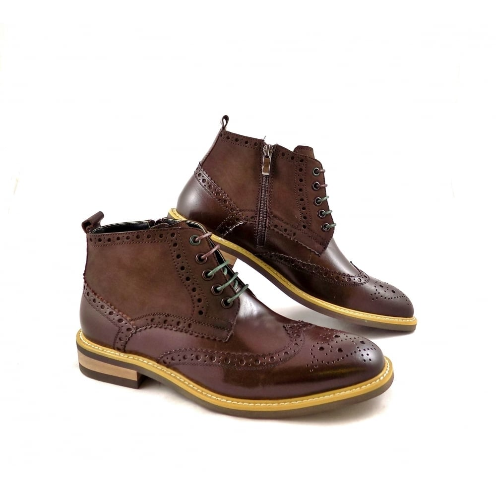 1e43d45f691ca1 Justin Reece Matthew Lace Up Brogue Boots in Coffee
