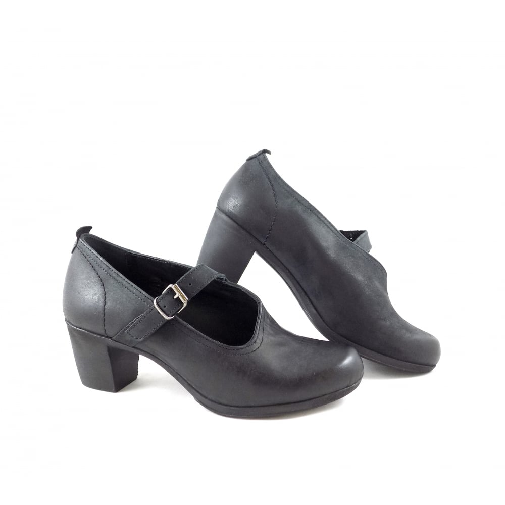 5bd4d5dd5040 Khrio 1105 Low Heel Court Shoes in Black Nubuck Leather