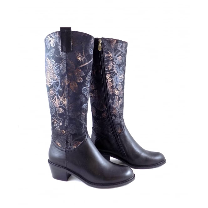 Laura Vita Alessandra 10 Long Boot with Floral Detail