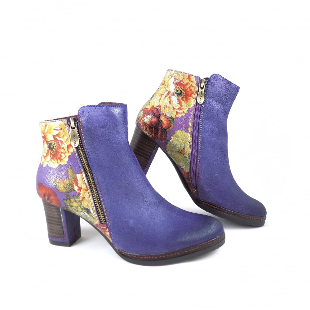 laura vita angela 14 floral ankle boots in violet suede rubyshoesday. Black Bedroom Furniture Sets. Home Design Ideas