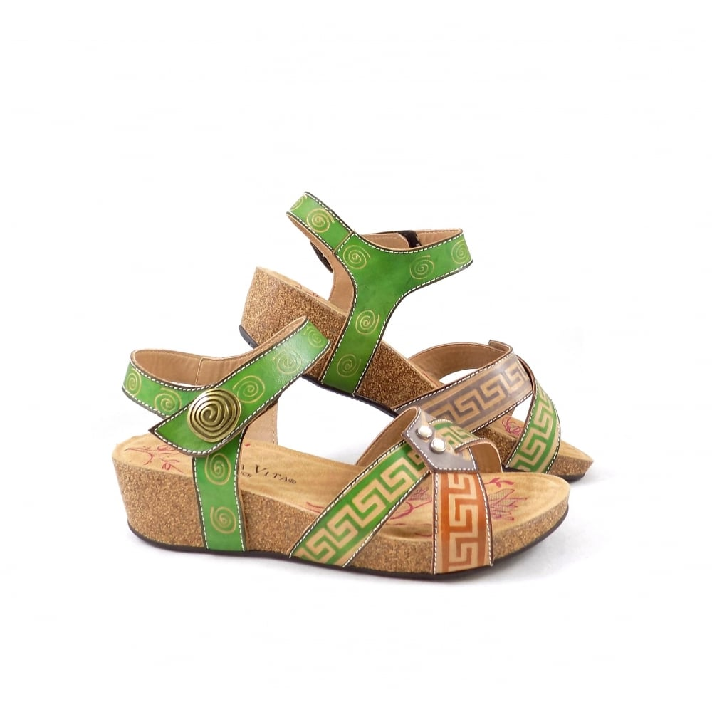 laura vita bingo low wedge sandals in green leather rubyshoesday. Black Bedroom Furniture Sets. Home Design Ideas