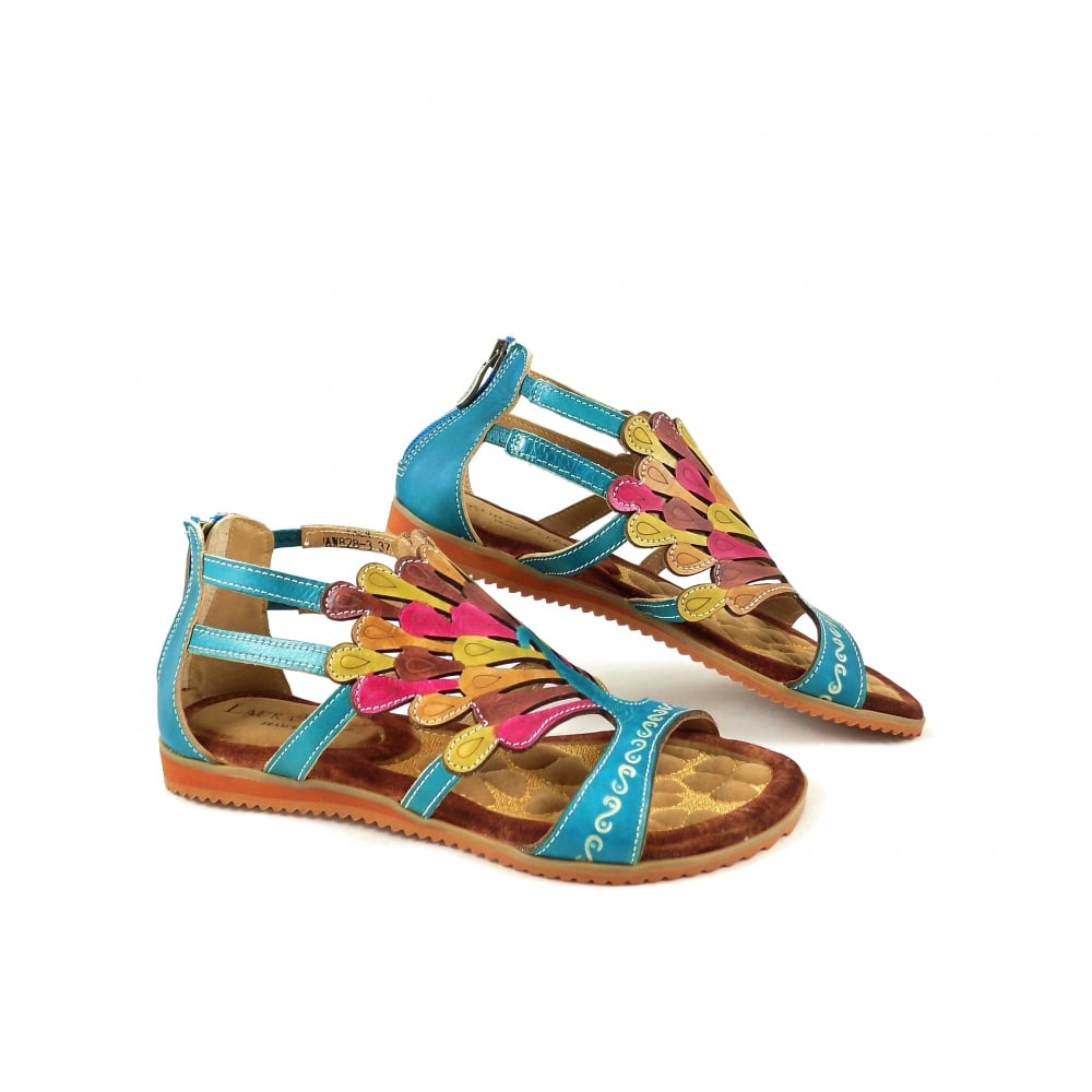 8b7db74a704469 Laura Vita Vaca Gladiator Sandals in Turquoise Leather