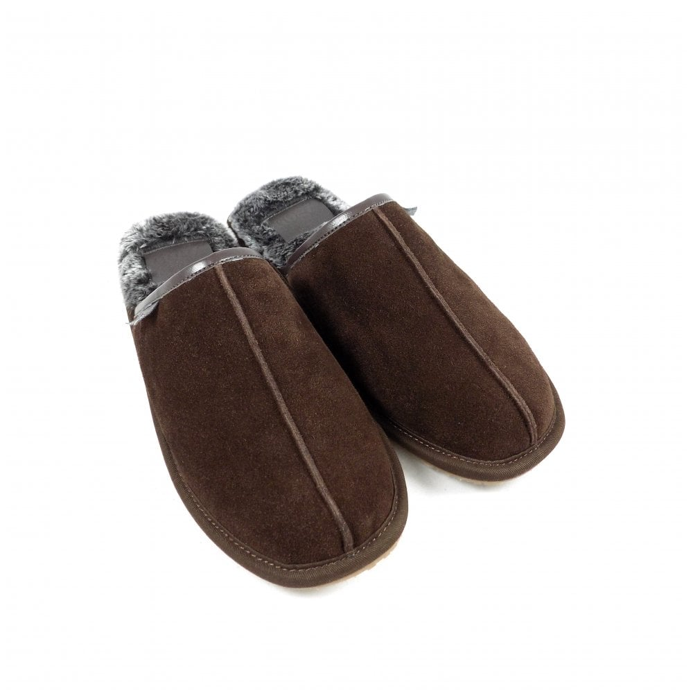 70d01ee3000f3 Lazy Dogz Banjo Mule Style Slippers in Brown Suede | rubyshoesday