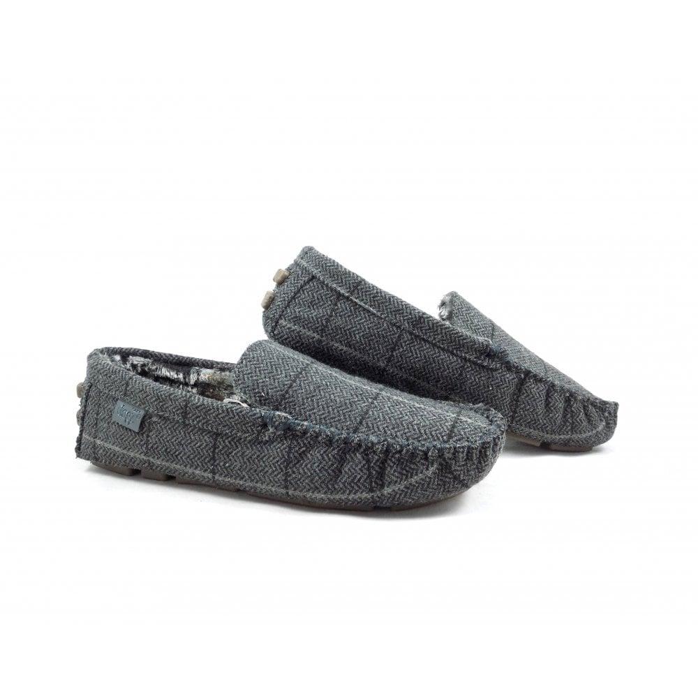c2645ee7059b0 Lazy Dogz Barkley Mocassin Style Slippers in Grey Check | rubyshoesday