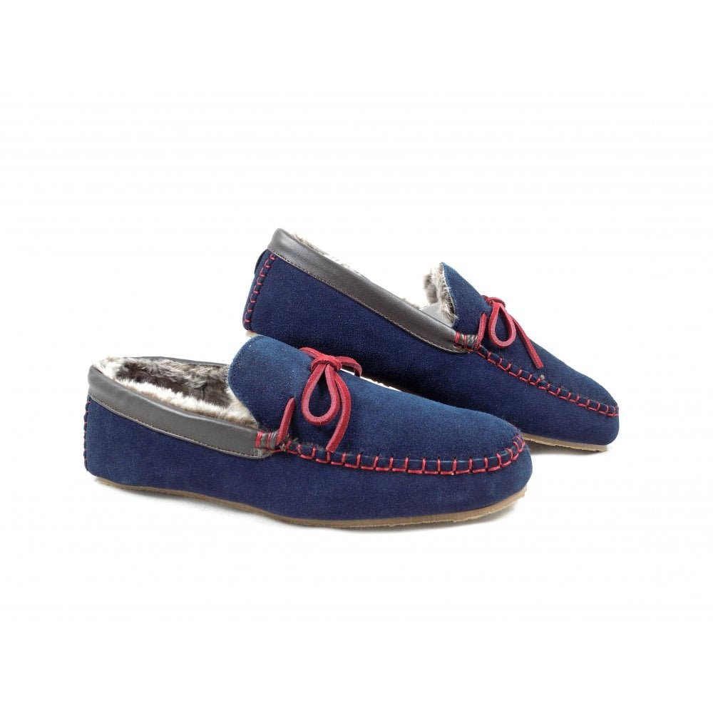 74554e70c1976 Lazy Dogz Benson Mocassin Style Slippers in Navy Suede | rubyshoesday