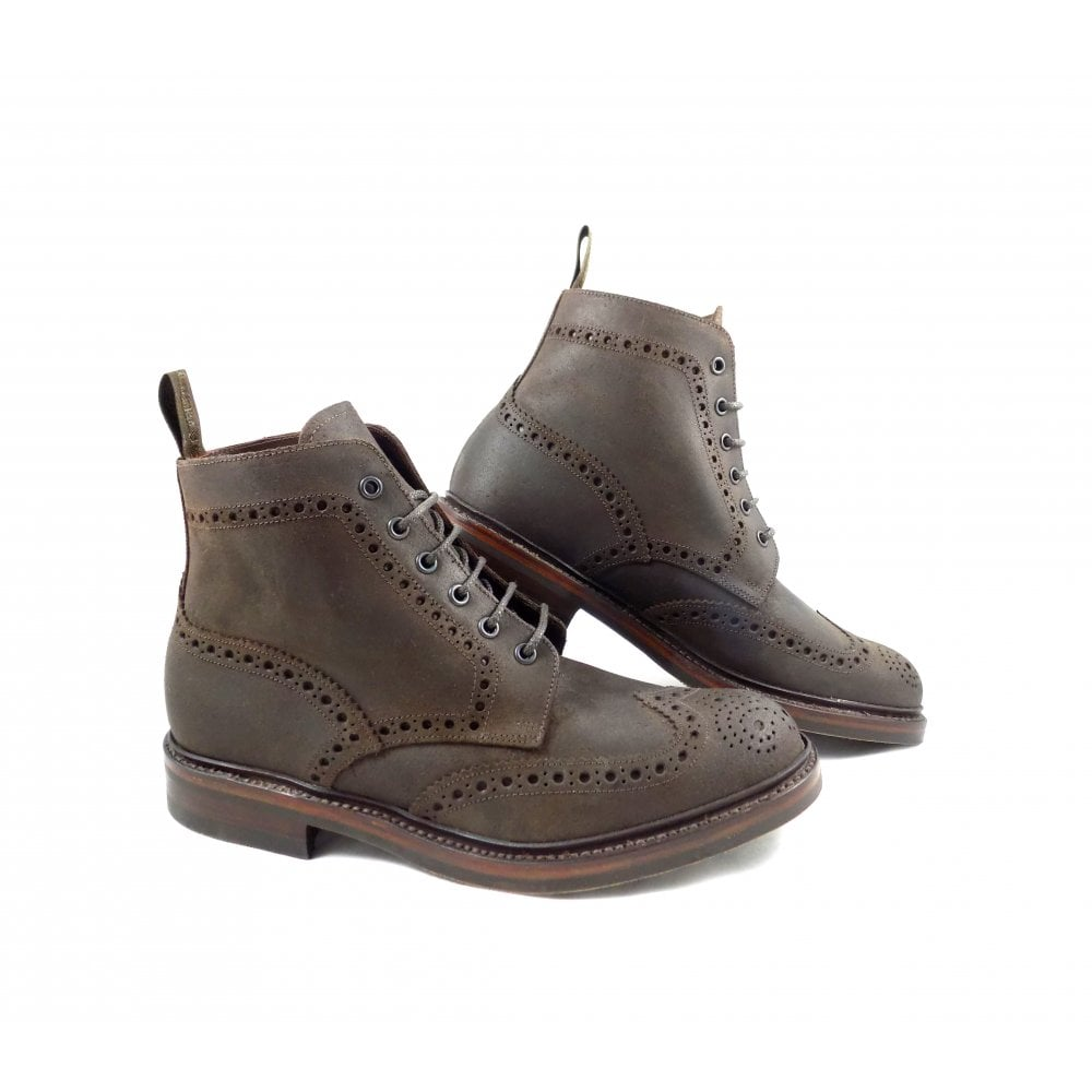 4e51aaf29532e Loake Bedale Brogue Derby Boot with Rubber Sole in Brown