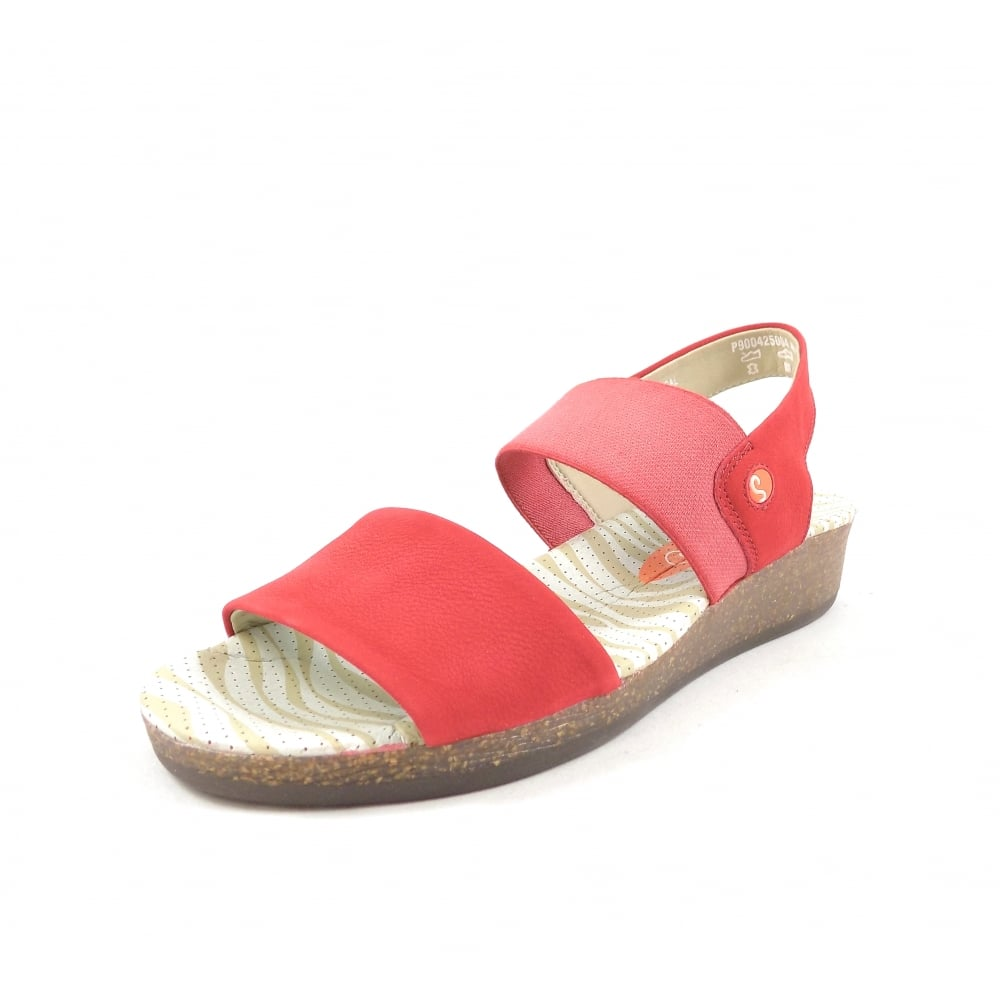 d65f846f94e2 Softinos Alp Low Wedge Casual Sandals in Red Leather