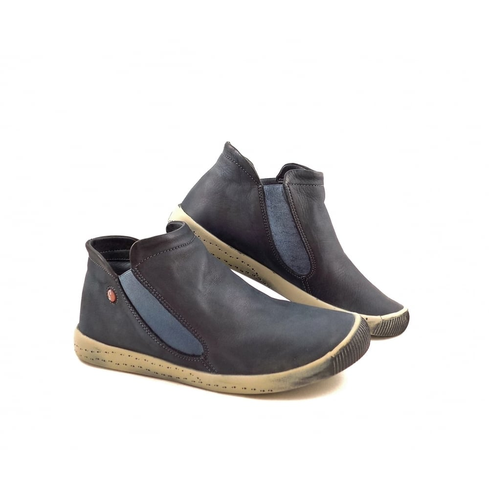 Softinos Inge Ankle Boots With Elastic Sides In Navy