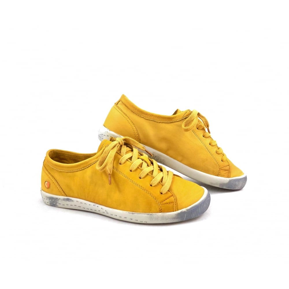 Softinos Isla Lace To Toe Sneakers In Yellow Leather
