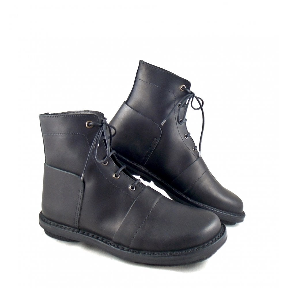 graphic leather mens black shoe boot