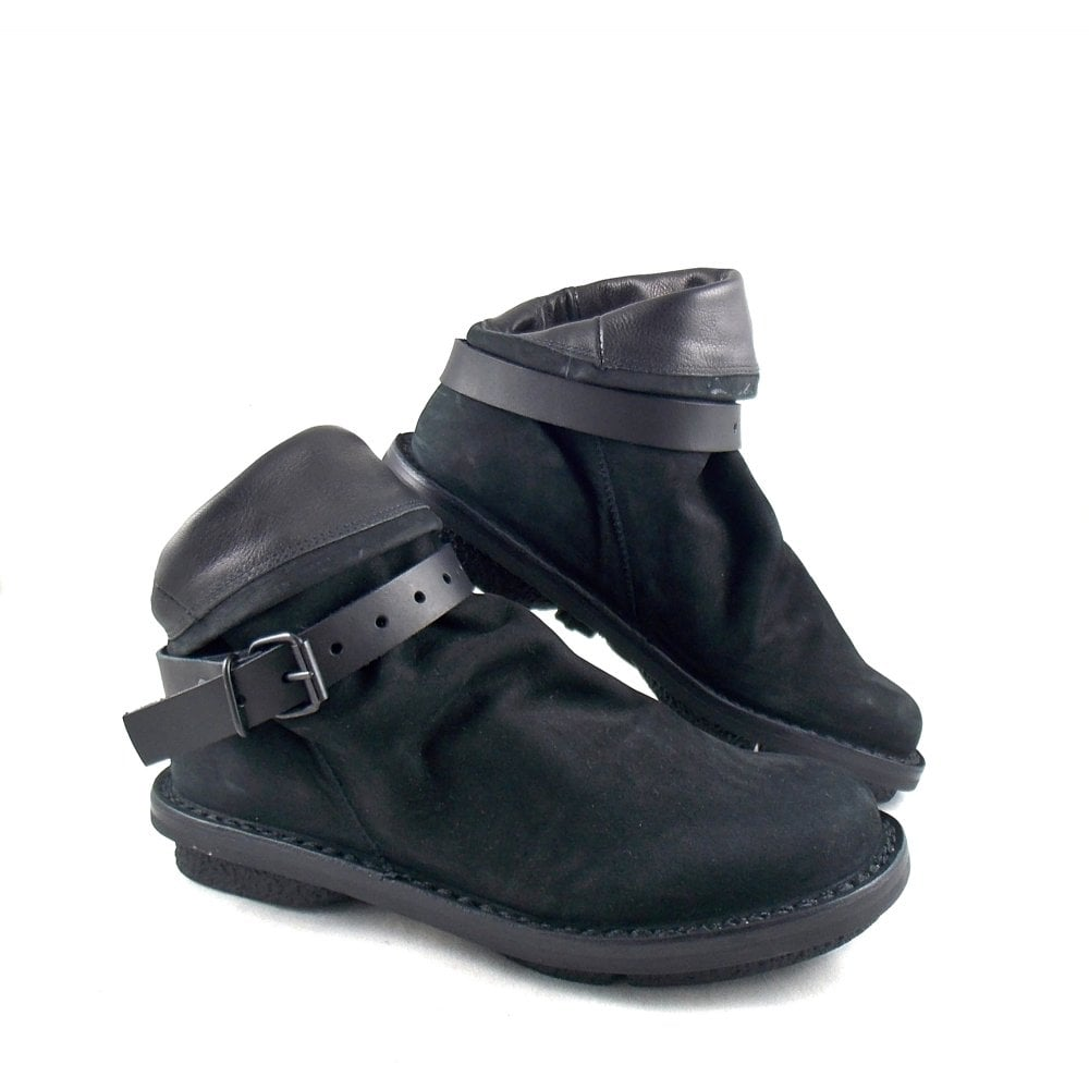 Trippen Bomb Slouhcy Ankle Boots In Soft Black Leather